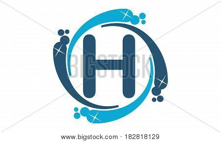 This vector describe about Water Clean Service Abbreviation Letter H