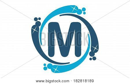 This vector describe about Water Clean Service Abbreviation Letter M