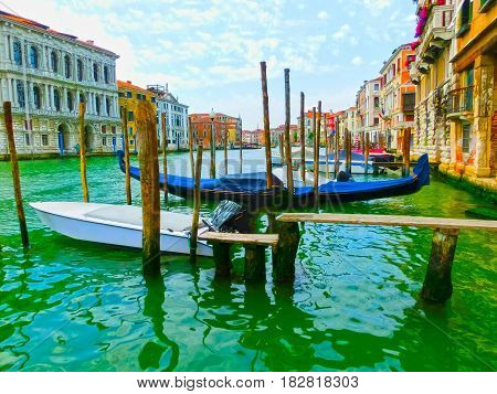 Venice, Italy - Gondola on Canal Grande in Venice, in a beautiful summer day in Italy