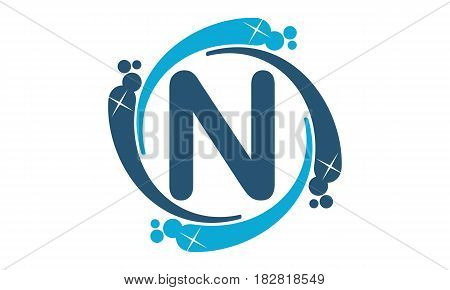 This vector describe about Water Clean Service Abbreviation Letter N