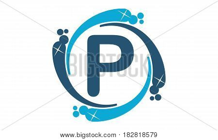 This vector describe about Water Clean Service Abbreviation Letter P