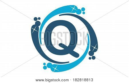 This vector describe about Water Clean Service Abbreviation Letter Q