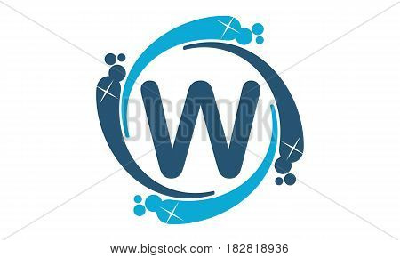 This vector describe about Water Clean Service Abbreviation Letter W