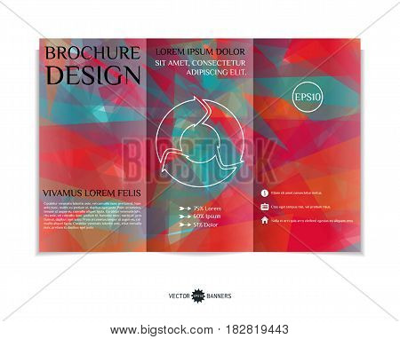 Tri-fold brochure template with modern geometric background. Three-fold leaflet design with random lines and shapes. Vector illustration.