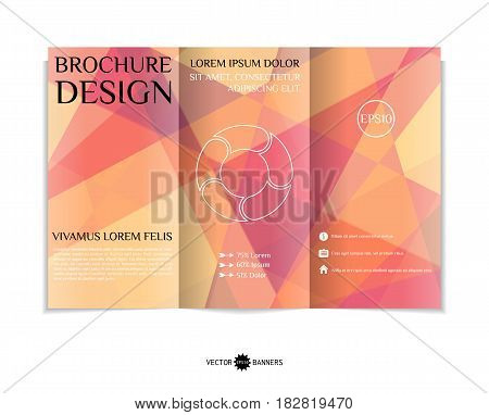 Tri-fold brochure template with modern geometric background. Three-fold leaflet design with random lines and triangles. Vector illustration.