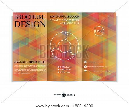 Tri-fold brochure template with modern geometric background. Three-fold leaflet design with random triangles. Vector illustration.