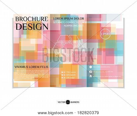 Tri-fold brochure template with modern geometric background. Three-fold leaflet design with random squares. Vector illustration.
