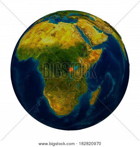 Rwanda Highlighted On Globe