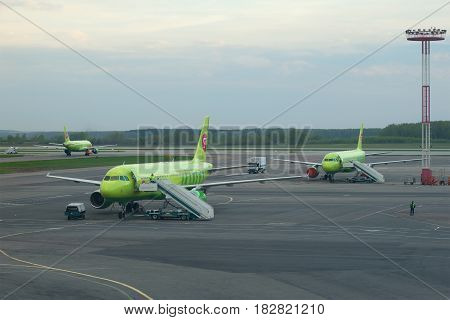 MOSCOW, RUSSIA - MAY 03, 2016: Evening May twilight on the airfield of Domodedovo airport