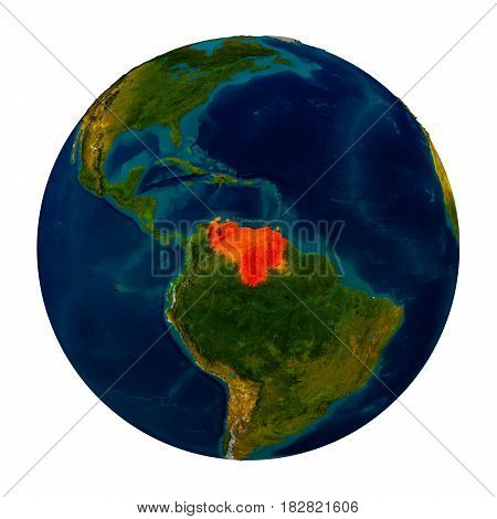 Venezuela Highlighted On Globe