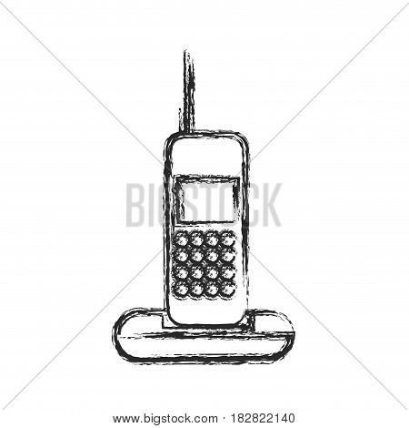 cordless phone communication device sketch vector illustration eps 10
