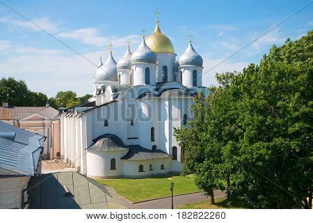 St. Sophia Cathedral in the Kremlin of Veliky Novgorod on a sunny July day. Russia
