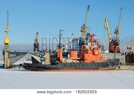 SAINT-PETERSBURG, RUSSIA - FEBRUARY 17, 2016: Marine rescue tug