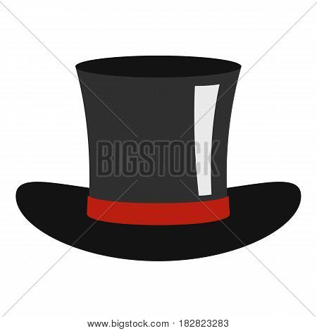 Silk hat icon flat isolated on white background vector illustration