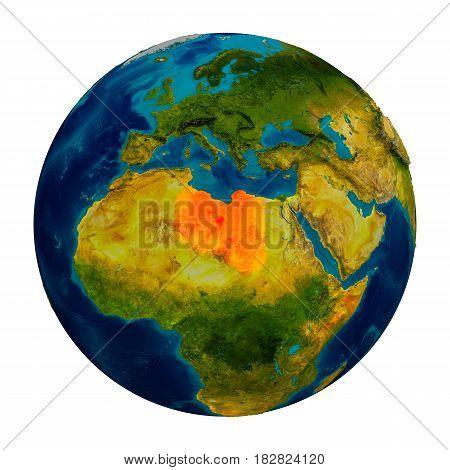 Libya Highlighted On Globe