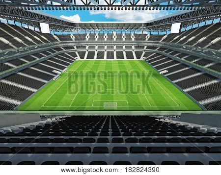 Modern Football Stadium With Black Seats For Fifty Thousand Fans - 3D Render