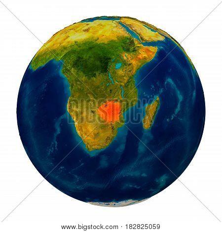 Zimbabwe Highlighted On Globe