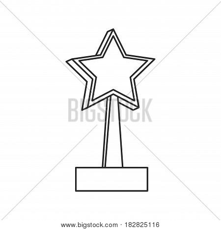 trophy star win image outline vector illustration eps 10