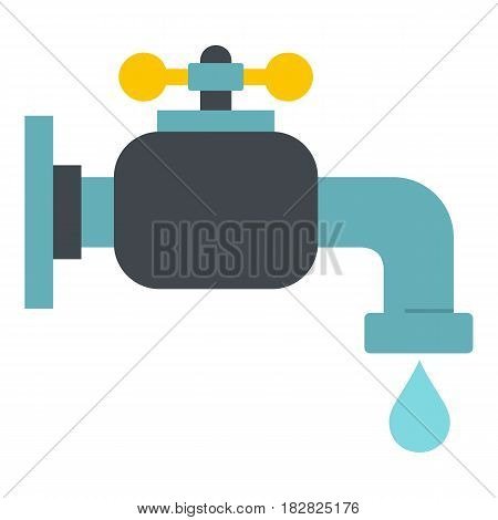 Water tap icon flat isolated on white background vector illustration