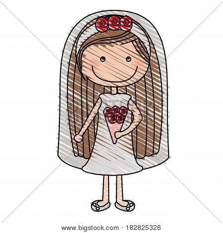 color pencil drawing of caricature woman in wedding dress with long hair vector illustration
