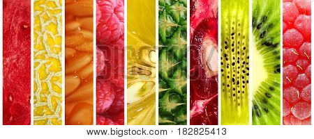 Set of colorful fresh fruits over white background