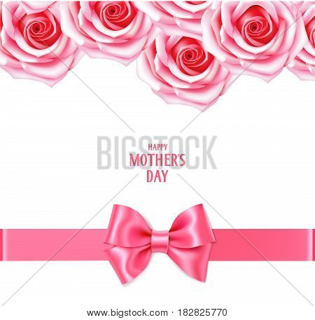 Floral background with pink roses and bow