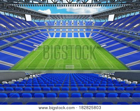 Modern Football Stadium With Blue Seats For Fifty Thousand Fans - 3D Render