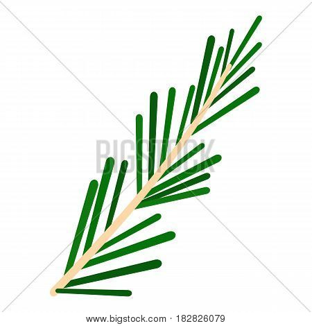 Green rosemary twig icon flat isolated on white background vector illustration