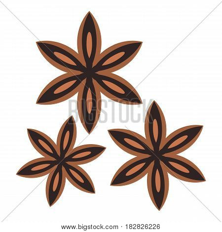 Star anise spice icon flat isolated on white background vector illustration
