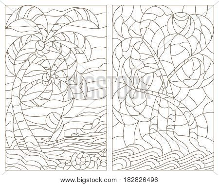 Set contour illustrations of the stained glass Windows of tropical landscapes island with palm trees against the sky ocean and sun