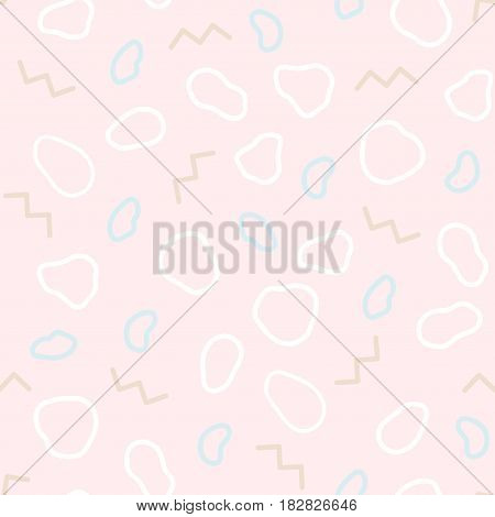 Memphis design. Organic abstract seamless pattern. Fashion zigzags and curves ovals on a pastel pink background. Trend of the 80s, 90s. Modern print. Funky background. Gentle and soft tone.