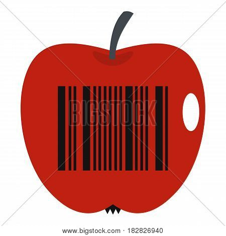 Red apple with barcode icon flat isolated on white background vector illustration