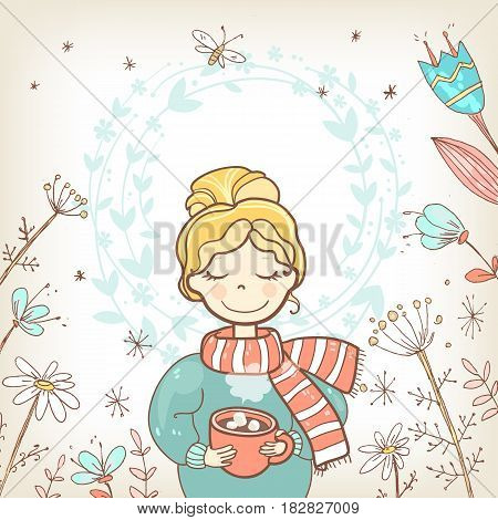 A sweet rosy girl with a cup of drink.Wreath floral background, pastel colors, autumn flowers. Vector hand drawn illustration