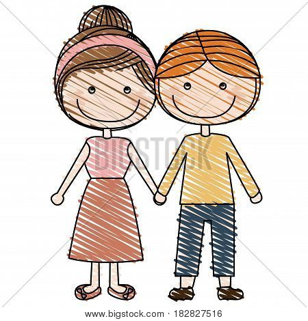 color pencil drawing of caricature blond guy hair and girl collected hairstyle with taken hands vector illustration