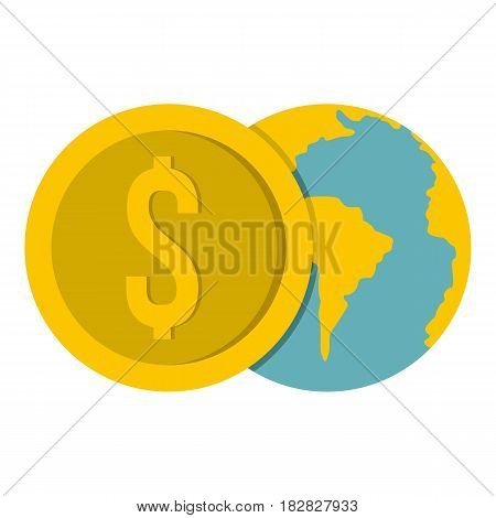 Globe and dollar coin icon flat isolated on white background vector illustration