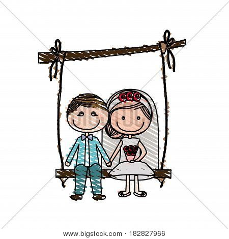 color pencil drawing of caricature married man and woman sit in swing hanging from a branch vector illustration
