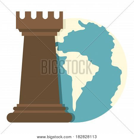 Globe Earth and chess rook icon flat isolated on white background vector illustration
