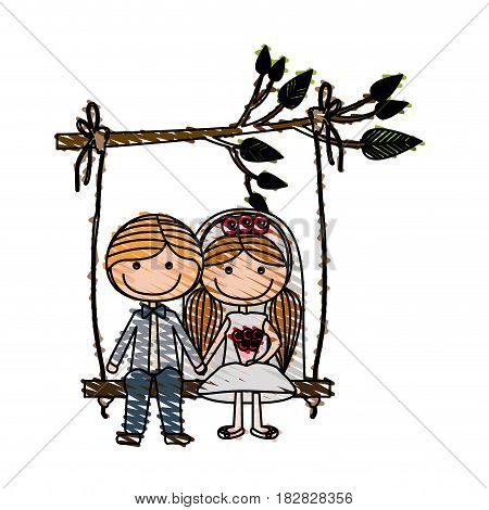 color pencil drawing of caricature guy with formal suit and woman with pigtails hairstyle sit in swing hanging from a branch vector illustration