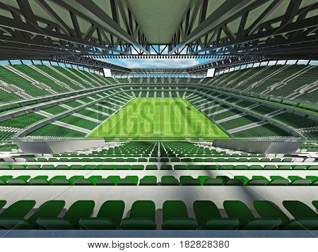 Modern Football Stadium With Green Seats For Fifty Thousand Fans - 3D Render