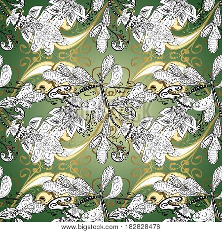Traditional classic golden vector pattern on green background with golden elements. Seamless oriental ornament in the style of baroque.