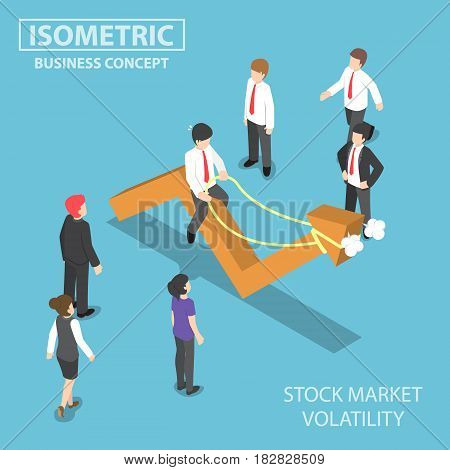 Isometric Businessman Riding Skittish Stock Market Graph