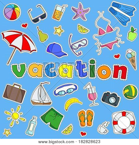 A set of simple colored icons of patches on the subject of vacation on blue background