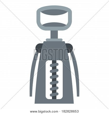 Metal corkscrew icon flat isolated on white background vector illustration