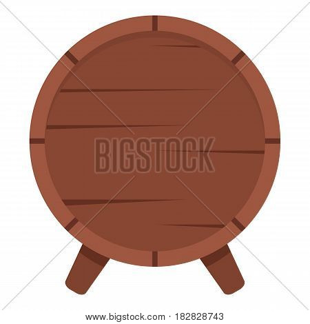 Wooden barrel on legs icon flat isolated on white background vector illustration