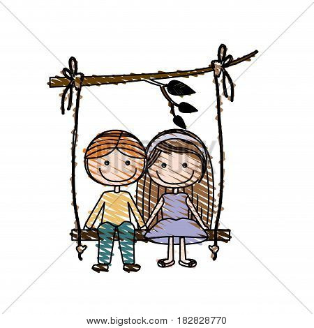 color pencil drawing of caricature blond guy in formal suit and girl with brown long hair sit in swing hanging from a branch vector illustration