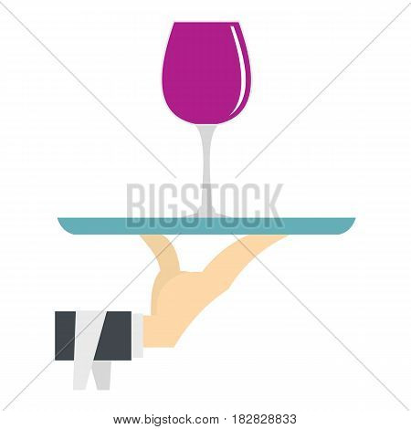 Hand holding tray with a glass of red wine icon flat isolated on white background vector illustration