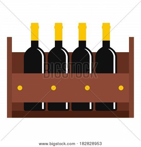 Wine bottles in a wooden crate icon flat isolated on white background vector illustration