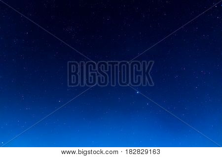 long exposure shot image of beautiful blue sky and stars in background.