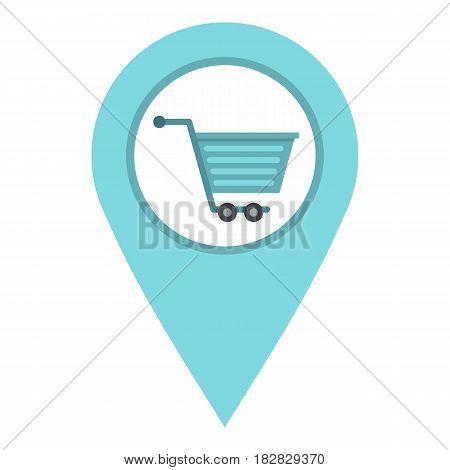 Supermarket location icon flat isolated on white background vector illustration