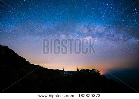 Milky Way Stars On Mountain .